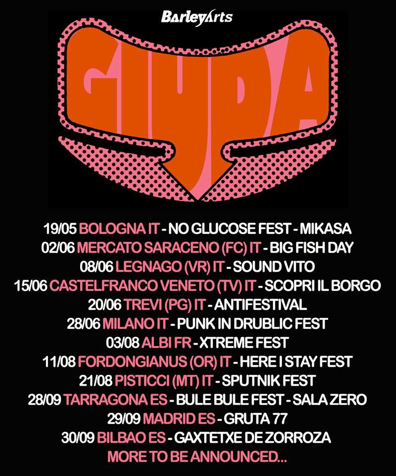 Cartel de los próximos conciertos de Giuda con actuaciones en Tarragona, Madrid y Bilbao en septiembre de 2018
