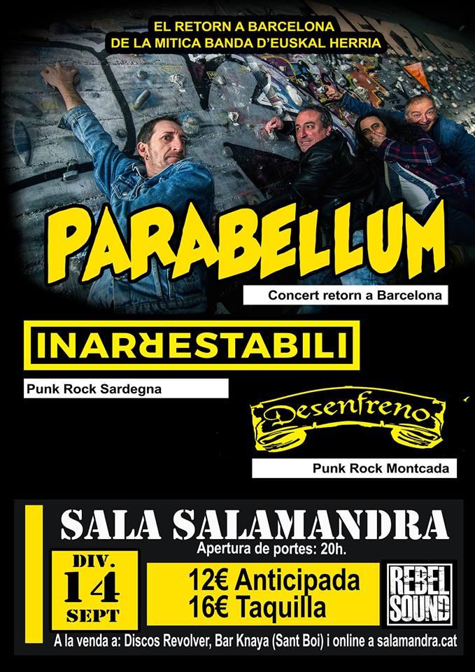 Cartel del concierto de Parabellum @ Sala Salmandra (Hospitalet / Barcelona) el 14 de septiembre 2018