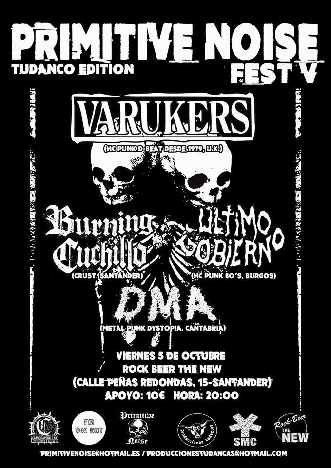 Cartel del Primitive Noise Fest 2018 @ Rock Beer the New, en Santander, con la presencia de The Varukers, Último Gobierno, Burning Cuchillo y DMA el viernes 5 de octubre de 2018