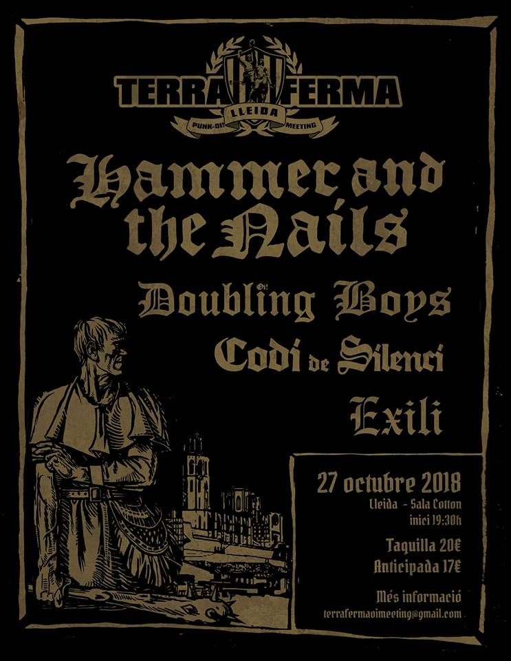 Cartel del Terra Ferma 2018 @ Sala Cotton, Lleida, el 27 de octubre de 2018 con Hammer & The Nails, Codi de Silenci, Exili y Doubling Boys