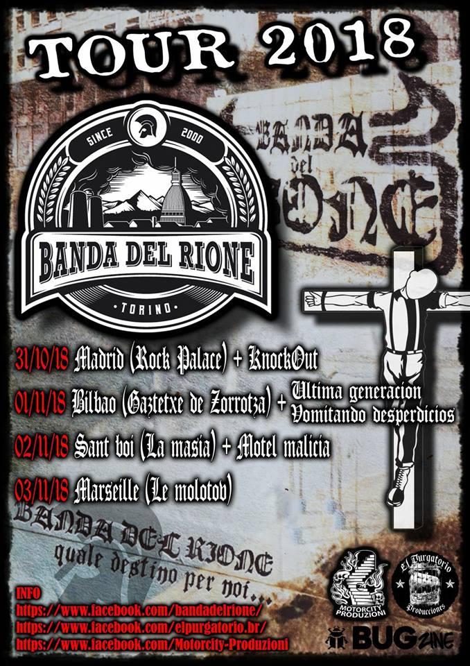 Tour de Banda del Rione con conciertos en Bilbao, Madrid, Sant Boi y Marsella