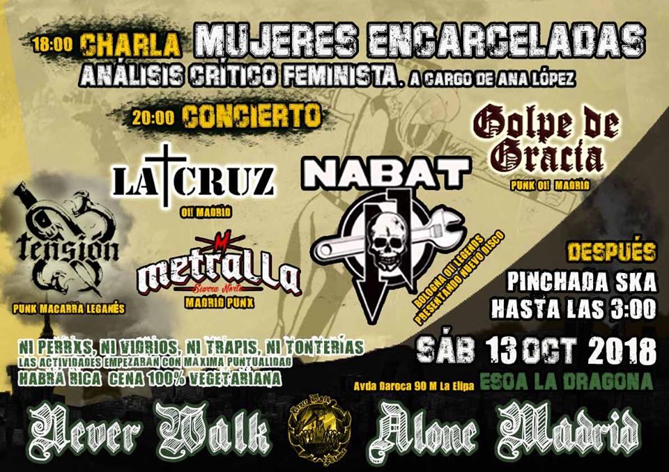 Cartel del concierto de Nabat + Golpe de Gracia + Tensión + La Cruz+ Metralla @ ESOA La Dragona, Madrid/La Elipa, el sábado 13 de octubre de 2018
