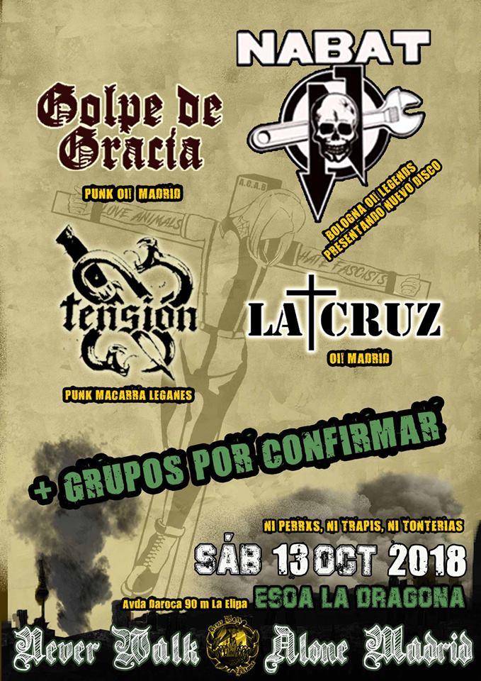Cartel del concierto de Nabat, Golpe de Gracia, La Cruz y Tensión @ La Dragona, Madrid, el sábado 13 de octubre de 2018