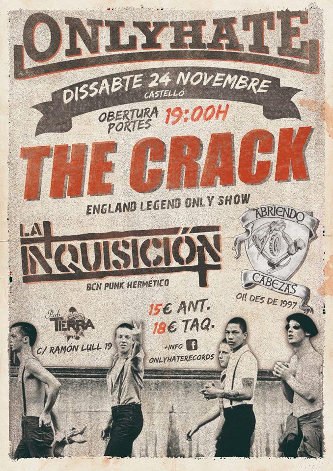 Cartel del concierto de The Crack, La Inquisición y Abriendo Cabezas @ Pub Terra, Castelló, el sábado 24 de noviembre de 2018