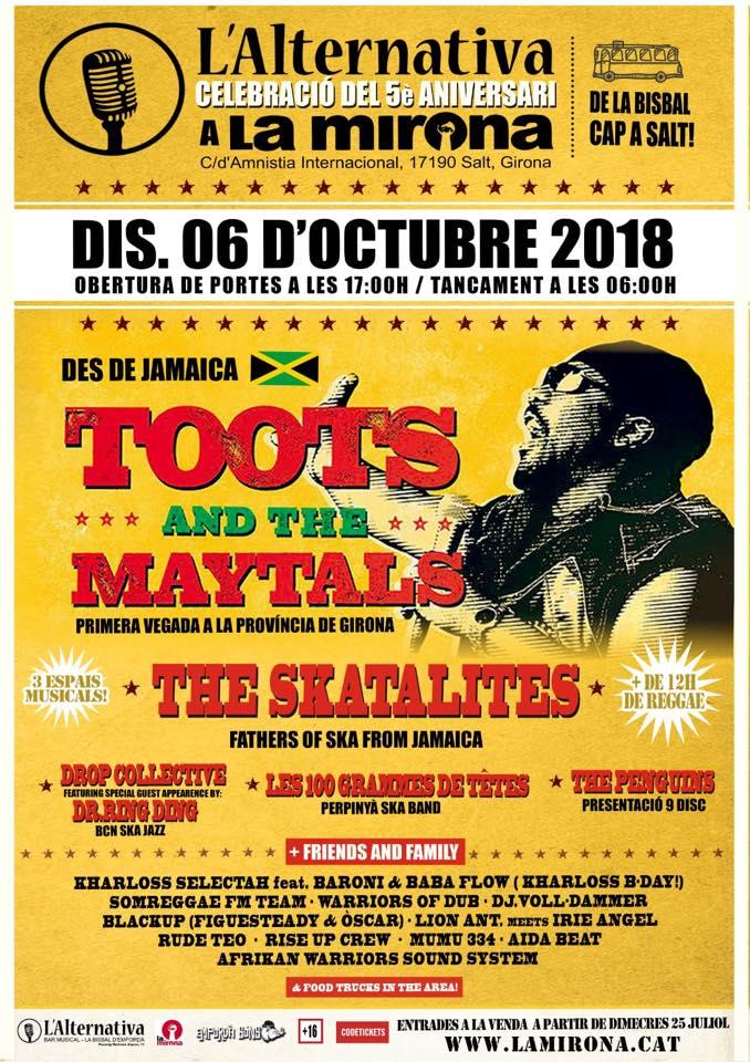 Cartel del concierto de Toots & The Maytals + Skatalites @ La Mirona, Girona