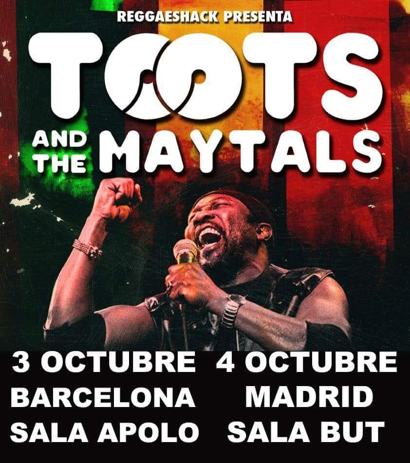 Cartel de los conciertos de Toots & The Maytals en Barcelona (Sala Apolo) y Madrid (Sal But) en octubre de 2018