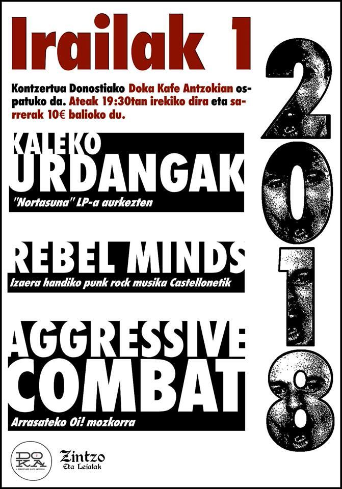 Cartel del concierto de Aggressive Combat + Kaleko Urdangak + Rebel Minds @ Doka Kafe Antzokia, Donostia, el sábado, 1 de septiembre de 2018