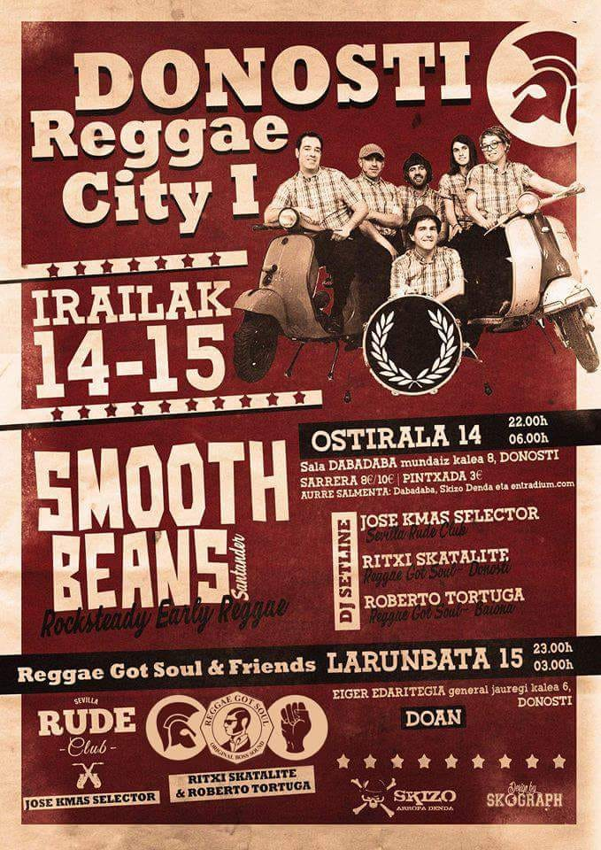 Cartel del I Donosti Reggae City con Smooth Beans