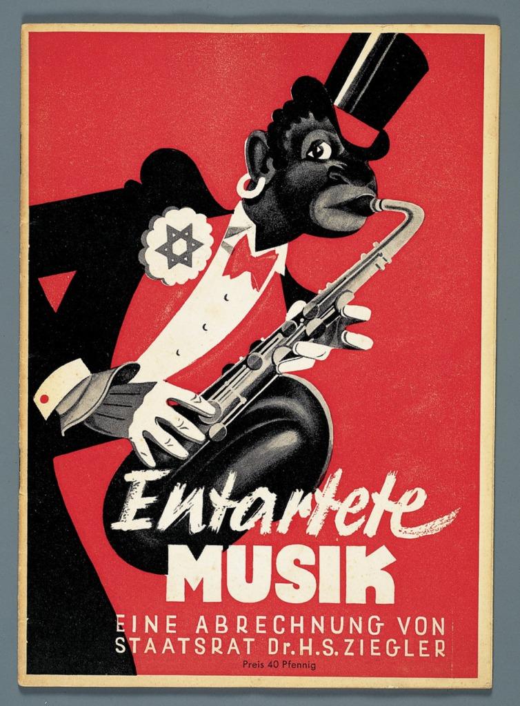 """Cartel de la exposición Entartete Musik (""""Música degenerada"""") de Múnic en 1938"""