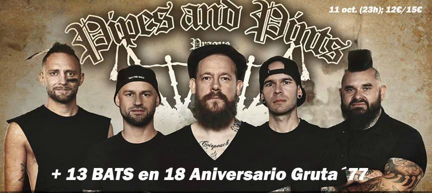 Cartel del concierto de Pipes and Pints + 13 Bats @ Gruta 77, Madrid, el jueves 11 de octubre de 2018