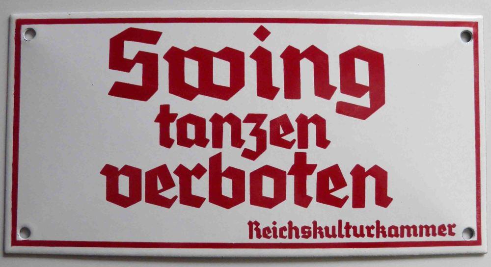 """Cartel de """"Prohibido bailar el swing"""""""