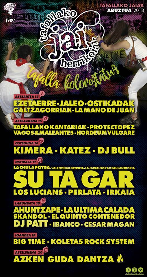 Programa de conciertos de las Fiestas de Tafalla 2018