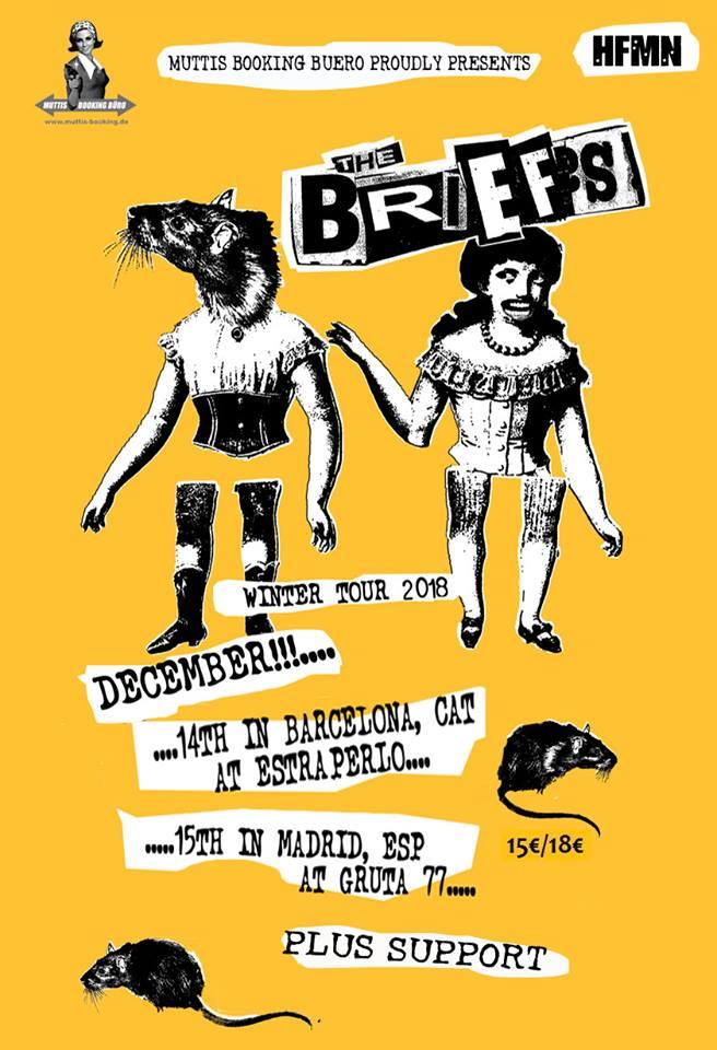 Cartel de los conciertos en Badalona (Estraperlo Club) y Madrid (Gruta 77) de The Briefs en diciembre de 2018
