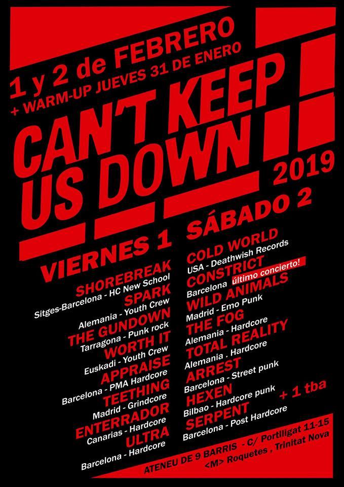Cartel completo del Can't Keep Us  Down 2019 @ Ateneu 9 Barris, Barcelona, los días 1 y 2 de febrero de 2019