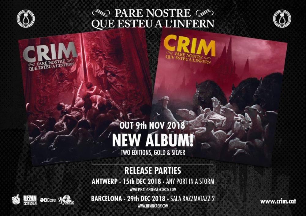 Conciertos de presentación del nuevo disco de CRIM, 'Pare Nostre Que Esteu a l'Infern', en Amberes y Barcelona