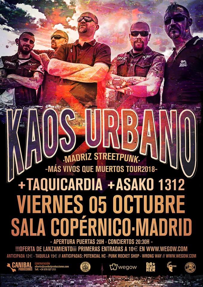 Cartel del concierto de Kaos Urbano + Taquicardia + Asako 1312 @ Copernico, Madrid, el viernes, 5 de octubre de 2018