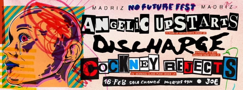 Cartel del No Future Fest Madrid 2019 @ Sala Changó con Angelic Upstarts, Discharge y Cockney Rejects