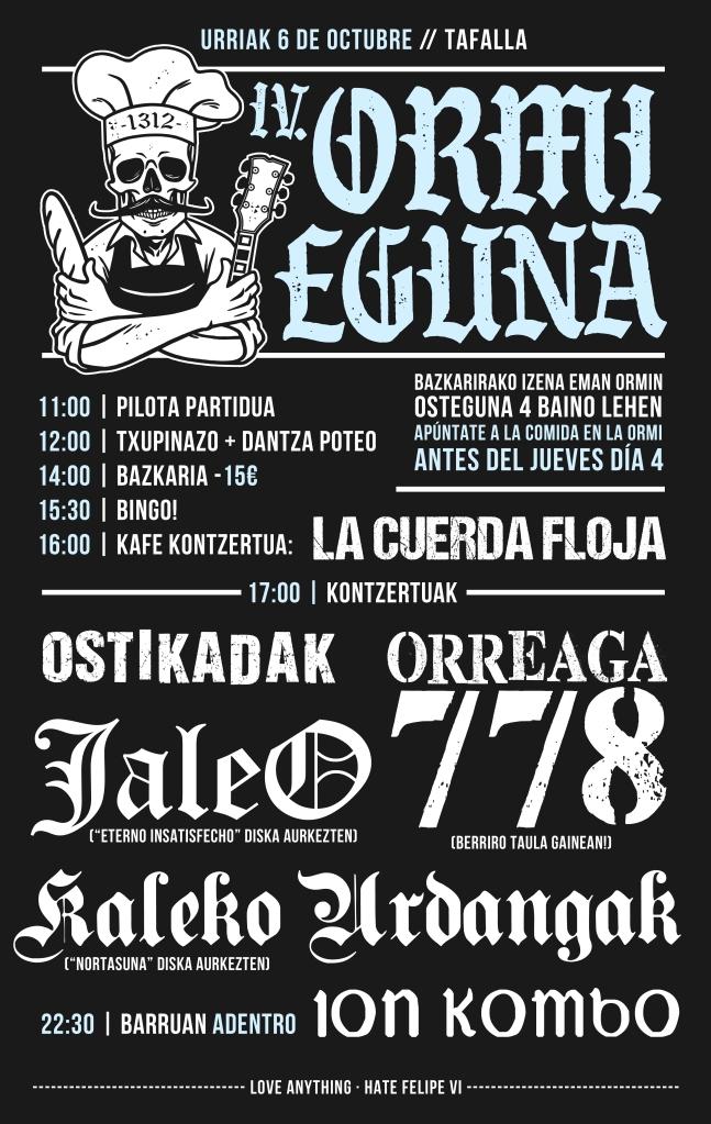 Cartel del IV Ormi Eguna @ Tafalla con Orreaga 778, Kaleko Urdangak, JaleO y Ostikadak