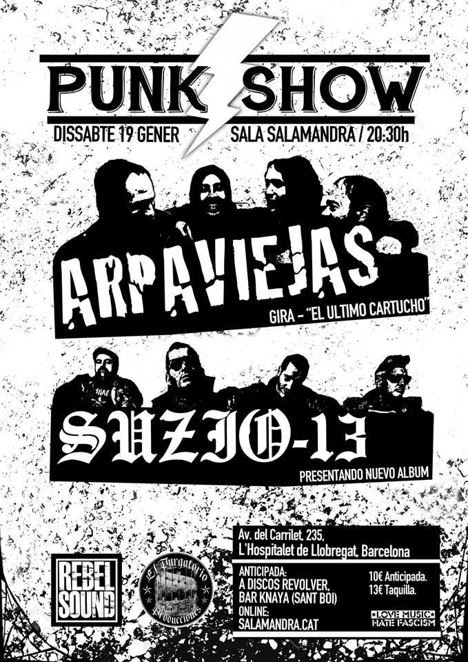 Cartel del concierto de Arpaviejas + Suzio 13 @ Sala Salamandra, Hospitalet, el sábado 19 de enero de 2019