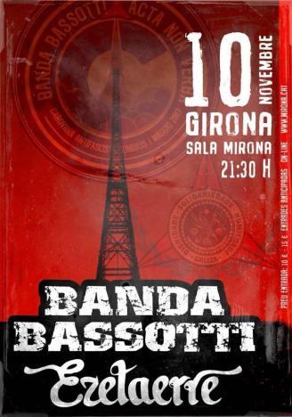 Cartel del concierto de Banda Bassotti @ La Mirona, Girona, el sábado 10 de noviembre de 2018