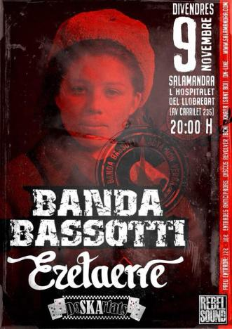 Cartel del concierto de Banda Bassotti @ Salamandra, Hositalet/Barcelona, viernes 9 de noviembre de 2018