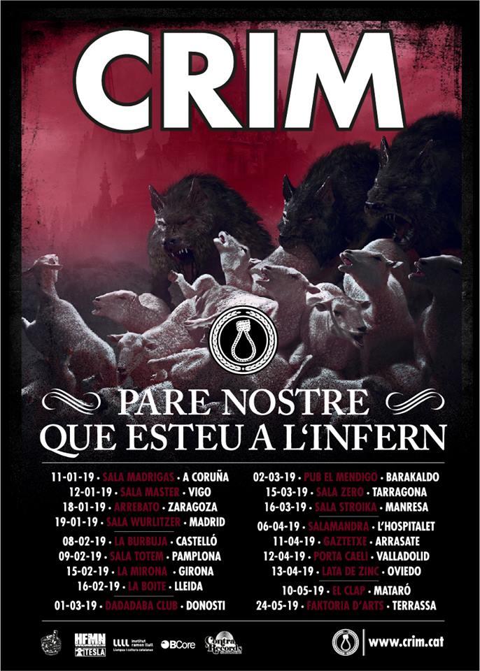 Fechas de los conciertos de CRIM de la gira de presentación de 'Pare Nostre Que Esteu a l'Infern'