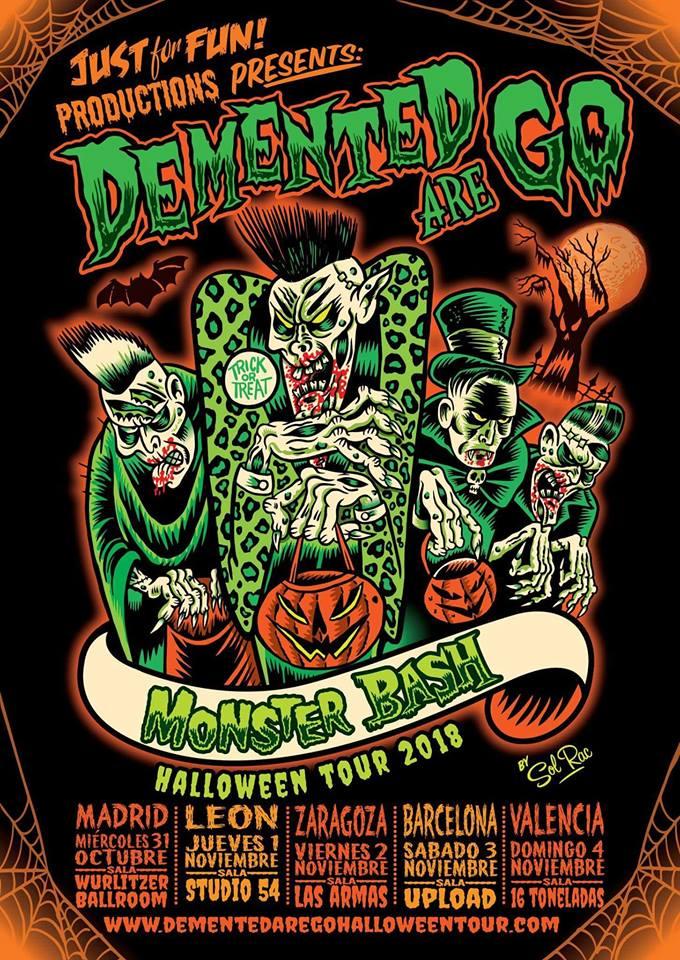 Cartel de la gira de Demented Are Go en octubre/noviembre de 2018 con conciertos en Madrid, León, Zaragoza, Barcelona y Valencia