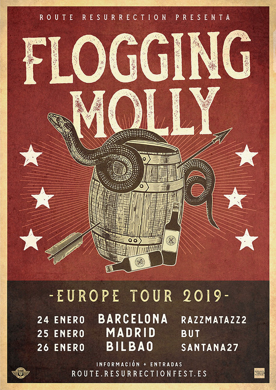 Cartel de la gira de Flogging Molly con conciertos en Barcelona, Madrid y Bilbao en enero de 2019