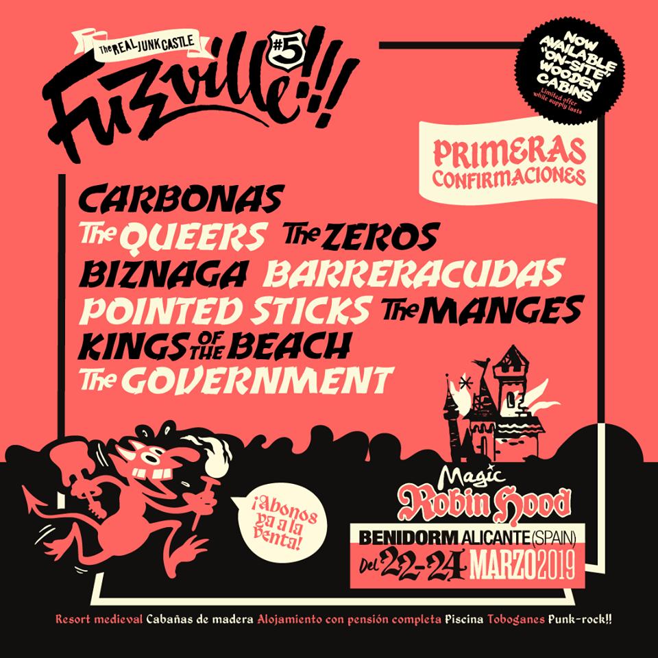 Cartel del festival  Fuzzville 2019 que se celebra del 22 al 24 de marzo en el Magic Robin Hood en Benidorm con Carbonas, The Queers, The Zeros, Biznaga....