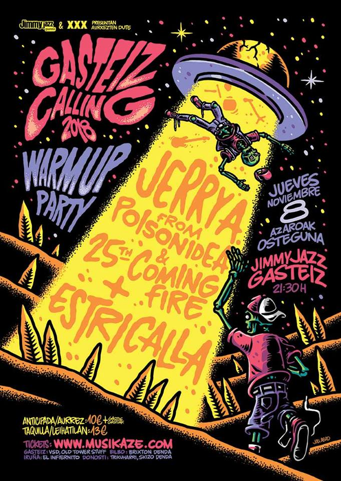Cartel del Gasteiz Calling Warm-Up Party 2018 con Jerry A & 25th Coming Fire + Estricalla @ Jimmy Jazz, Vitoria-Gasteiz, jueves 8 de noviembre de 2018