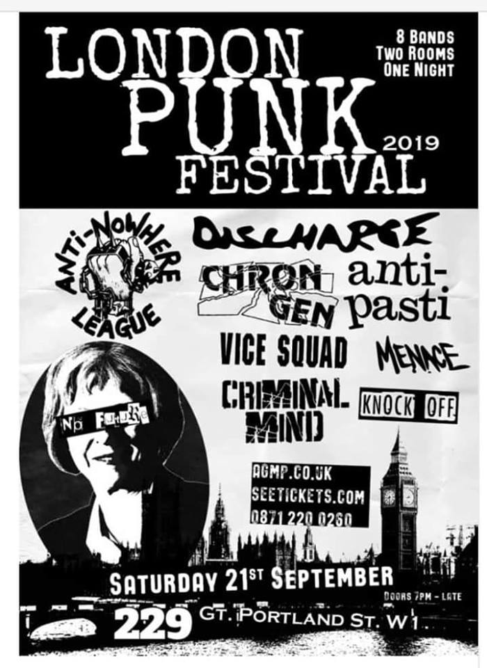London Punk Festival 2019 con Anti-Nowhere League, Discharge, Chron Gen, Menace, Anti-Pasti, Vice Squad, Criminal Mind y Knock Off