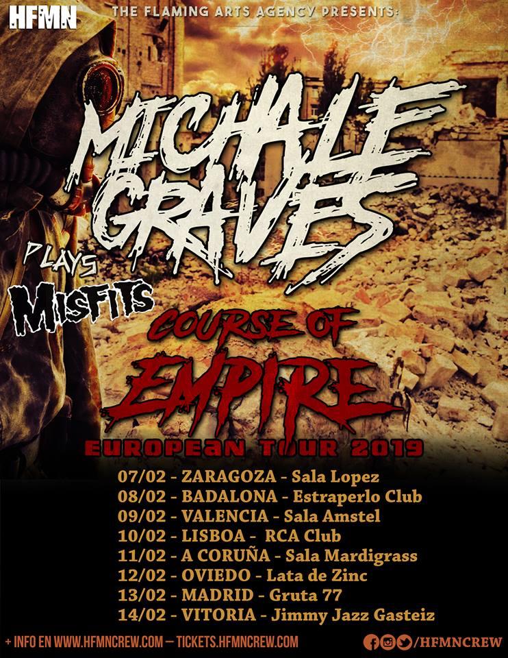 Cartel de la gira de Michael Graves (ex Misfits) con conciertos en Zaragoza, Badalona, Valencia, Lisboa, A Coruña, Oviedo, Madrid y Vitoria-Gasteiz.