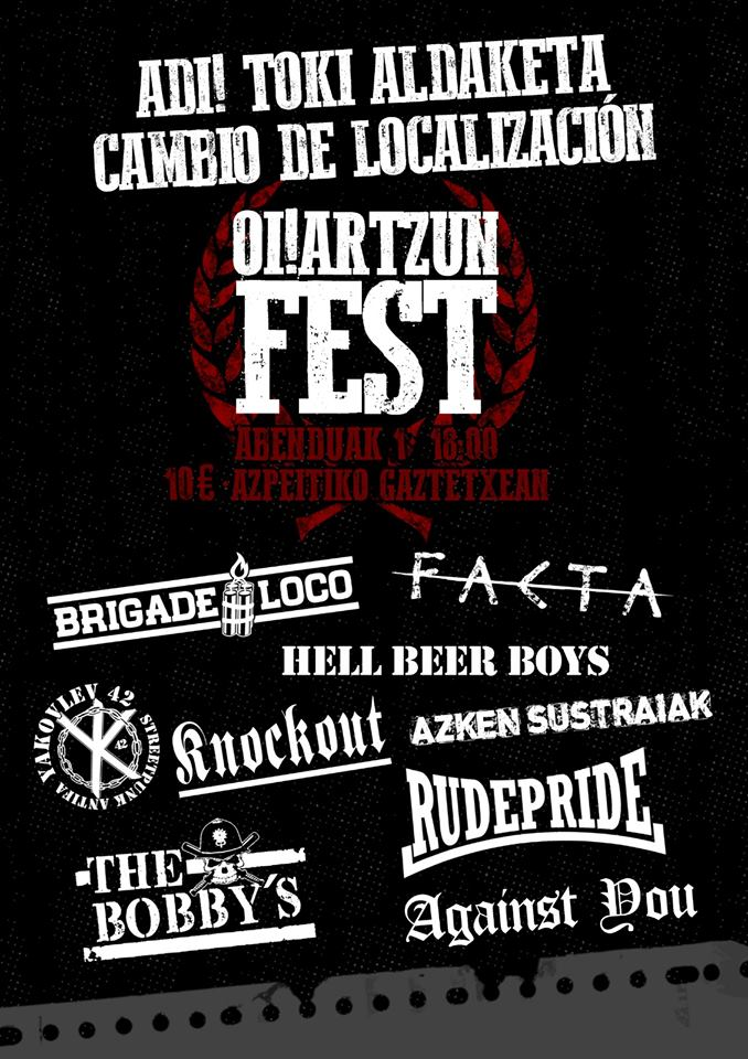 Oi!artzun Fest 2019 con Rude Pride, Knock Out, Azken Sustraiak, The Bobby's, Hell Beer Boys, Facta, Yakovlev 42, Brigade Loco y Against You