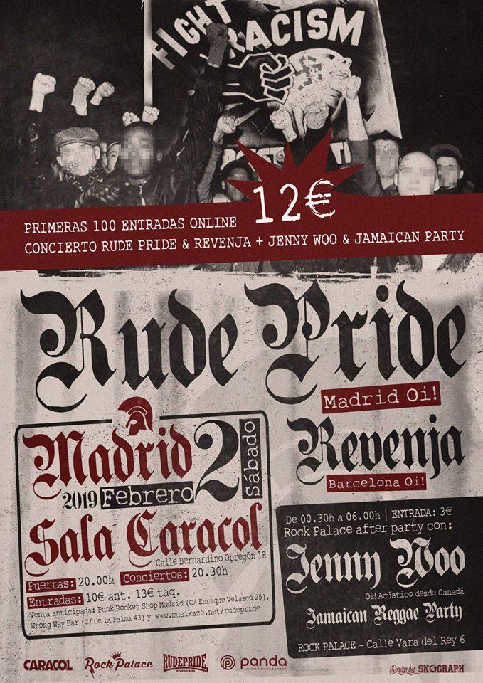 Cartel del concierto de Rude Pride + Revenja (Sala Caracol) y Jenny Woo + pinchada reggae (Rock Palace) del 2 de febrero de 2019