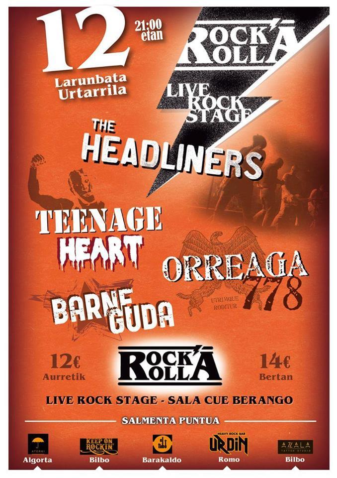Cartel del concierto de The Headliners, Kaleko Urdangak, Teenage Hearts y Orreaga 778 @ Rock&Rolla, Berango, el 12 de enero de 2019