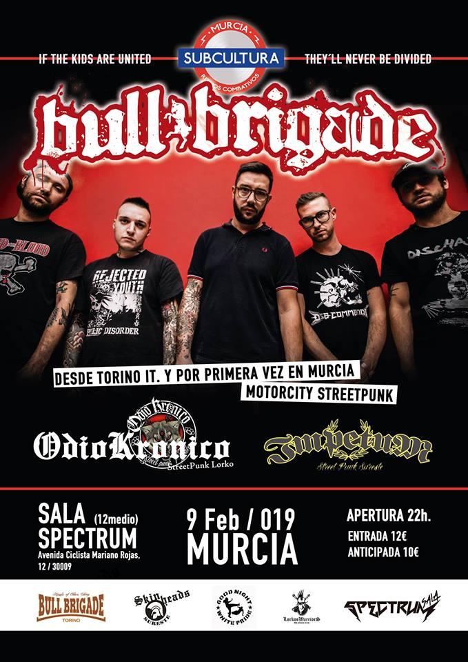Cartel del concierto de Bull Brigade @ Sala Spectrum, Murcia, el 9 de febrero de 2019