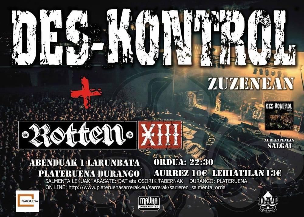 Cartel del concierto de Des-Kontrol y Rotten XIII @ Plateruena, Durango, el sábado 1 de diciembre de 2018