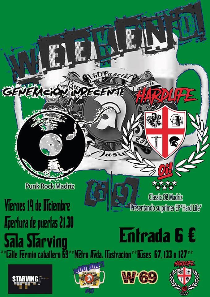 Cartel del concierto de Genreación Indecente + Hard Life @ Sala Starving, Madrid, el viernes 16 de diciembre de 2018