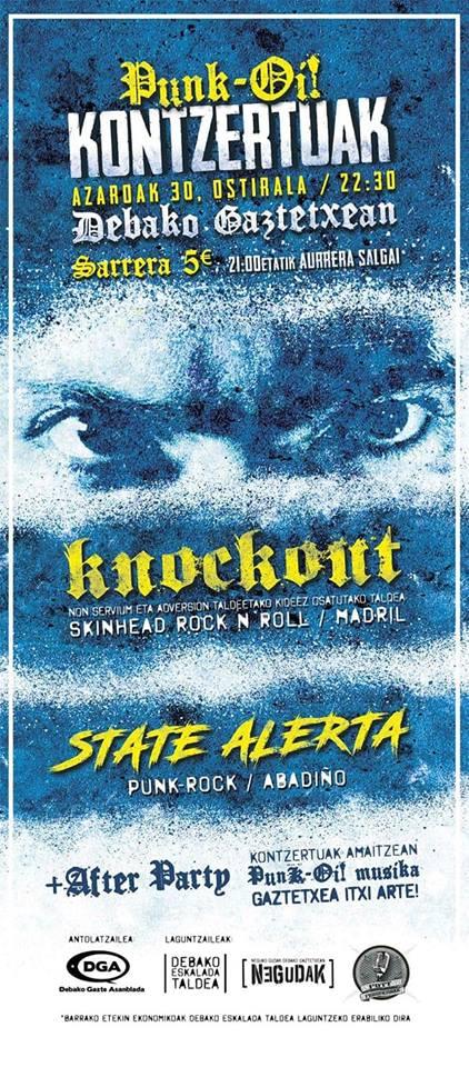 Cartel del concierto de KnockOut y State Alerta en el Gaztetexe de Deba el viernes 30 de noviembre de 2018
