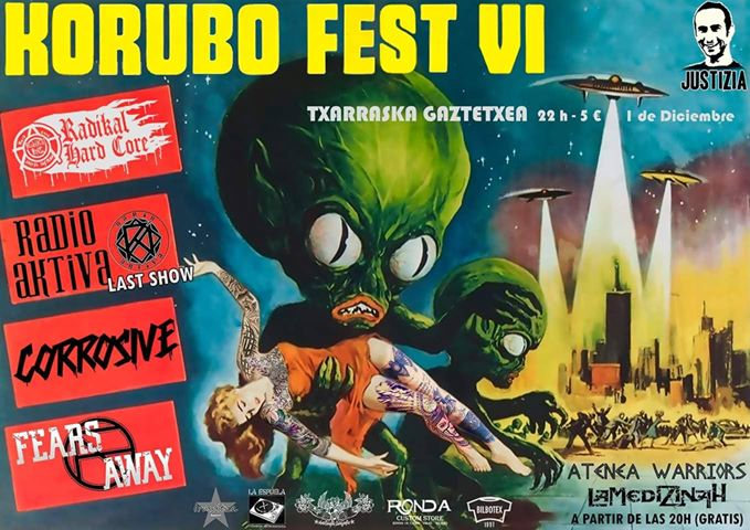 Korubo Fest 2018 con Radikal Hard Core, Radio Aktiva, Corrosive y Fears Away @ Txarraska Gaztetxea, Basauri, el 1 de diciembre de 2018