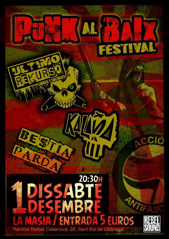 Punk Al Baix Festival 2018: Último Rekurso + Kalaña + Bestia Parda @ La Masía de Sant Boi de Llobregat el sábado 1 de diciembre de 2018