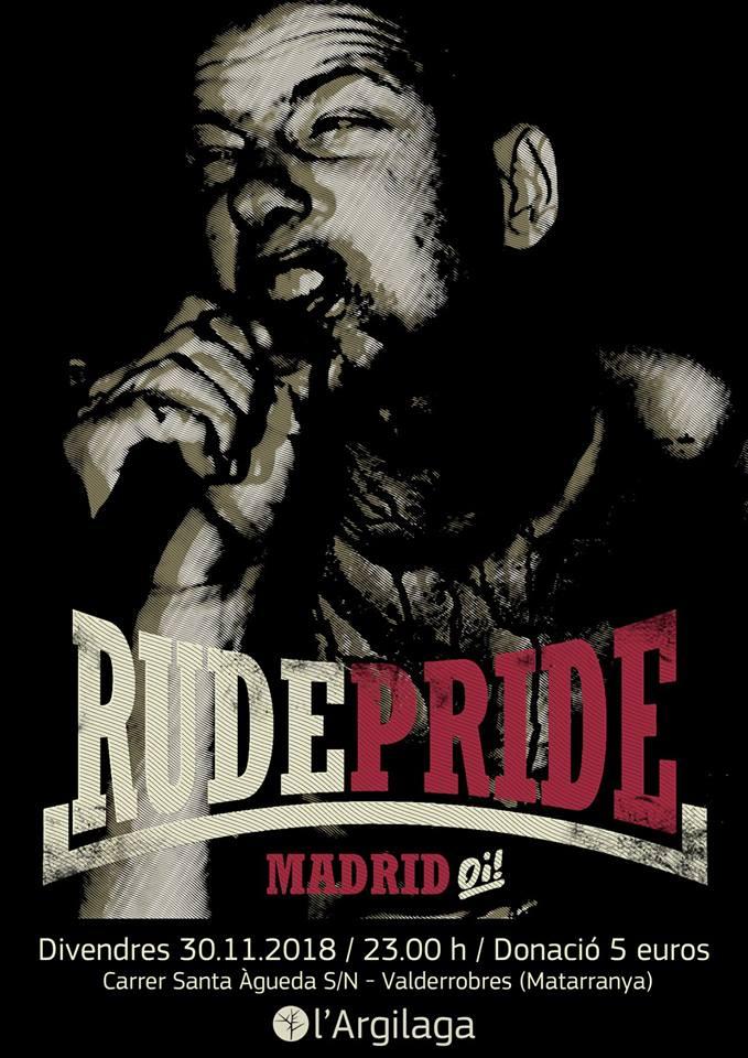 Cartel del concierto de Rude Pride @ CSA l'Argilaga, Valderrobres (Teruel) el viernes 30 de noviembre de 2018