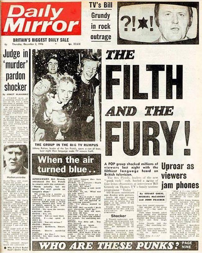 Portada de Daily Mirror de 2 de diciembre de 1976 con la entrevista de Bill Grundy a Sex Pistols a 4 columnas