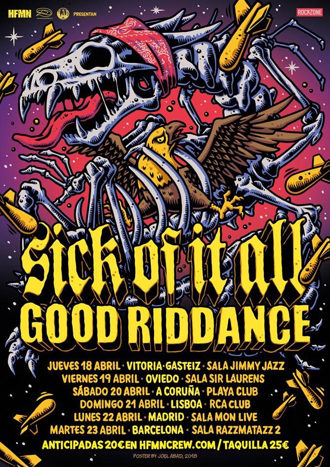 Cartel de la gira de Sick Of It All y Good Riddance con conciertos en Vitoria, Oviedo, A Coruña, Lisboa, Madrid y Barcelona