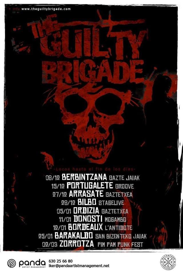 próximos conciertos para The Guilty Brigade en diciembre de 2018 y enero de 2019