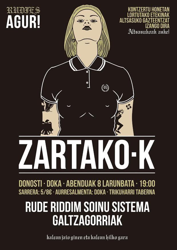 Cartel del concierto de ZartakoK, Rude Riddim Soinu Sistema y Galtzagorriak @ Doka, Donostia, sábado 8 de diciembre de 2018