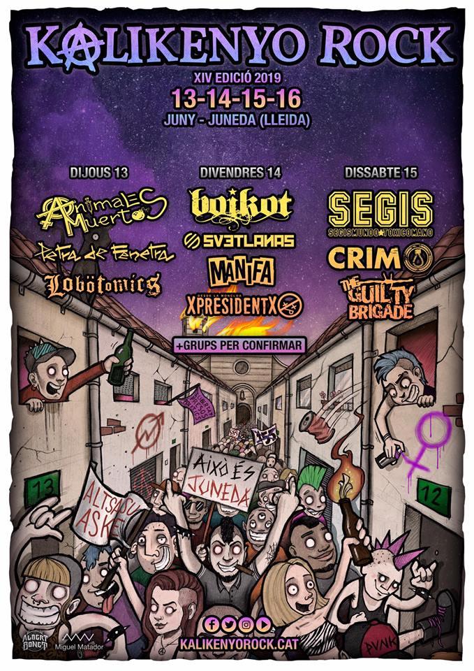 Cartel con los nombres de los primeros grupos confirmados para el Kalikenyo Rock 2019