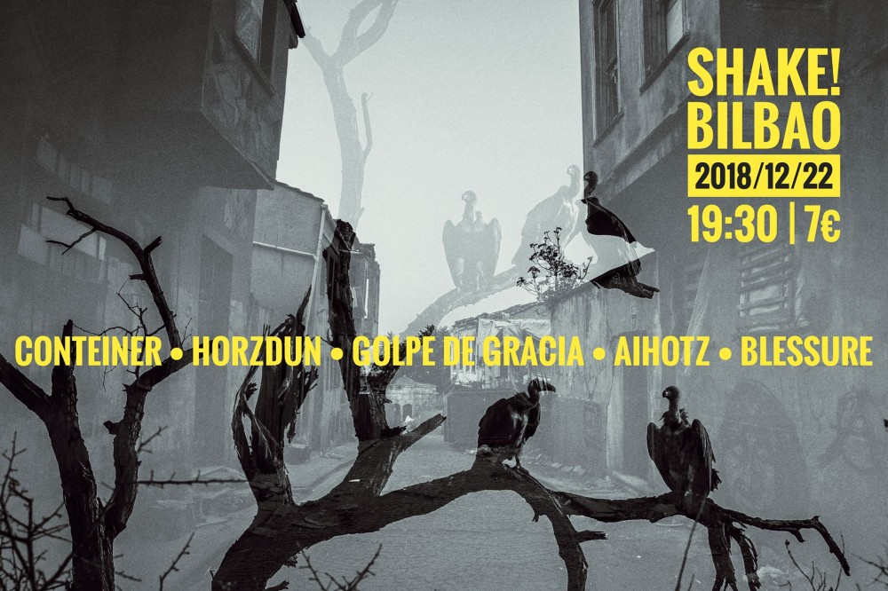 Cartel del concierto de Conteiner • Horzdun • Golpe De Gracia • Aihotz • Blessure @ Shake, Bilbao, el sábado 22 de diciembre de 2018