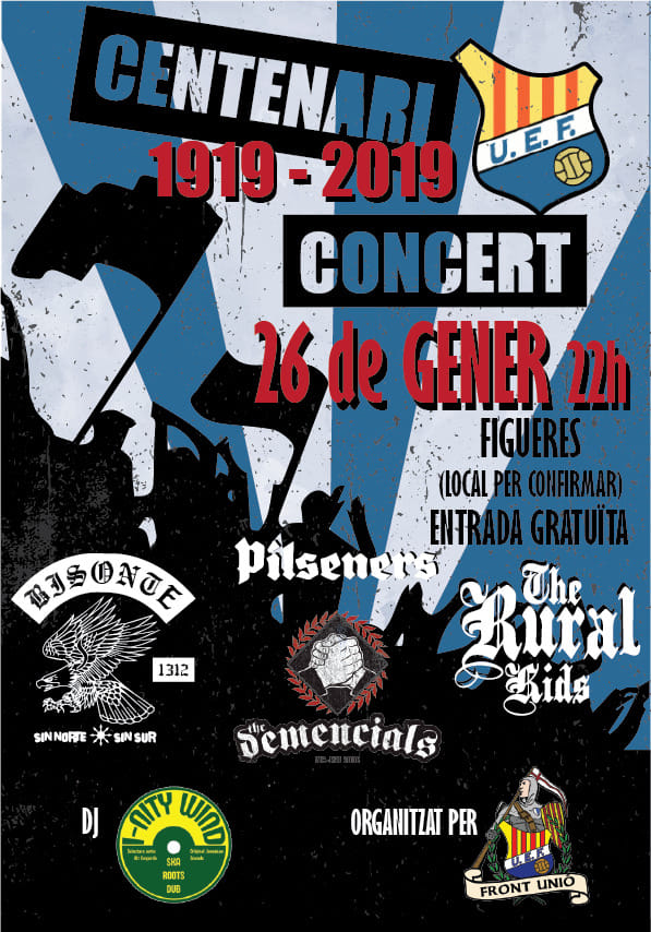Cartel del concierto de Pilseners, Bisonte 1312, The Demencials y The Ruval Kids el sábado 26 de enero de 2019