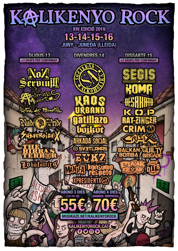 Cartel del Kalikenyo Rock 2019, que se celebra del 13 al 16 de junio en Juneda (Lleida)